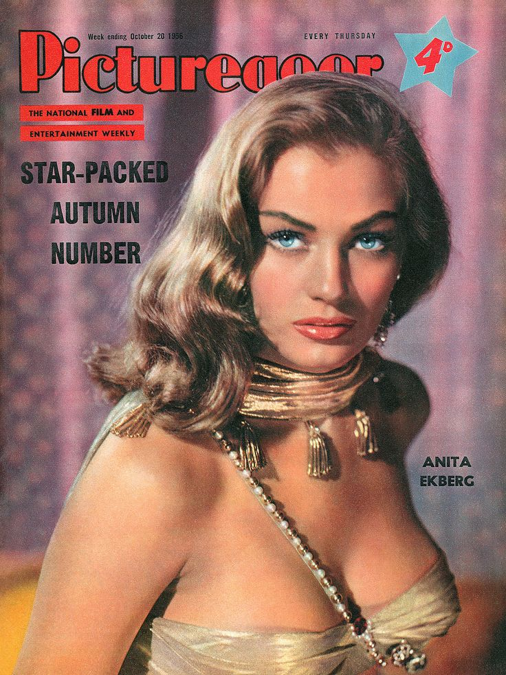 "Anita Ekberg on the front cover of ""Picturegoer"" magazine, United Kingdom, October 20th 1956."