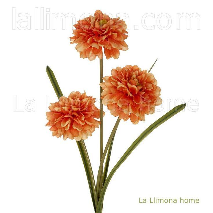 Rama artificial con flores de dalias en color naranja. Altura: 78 cms. http://www.lallimona.com/online/flores-y-plantas-artificiales/
