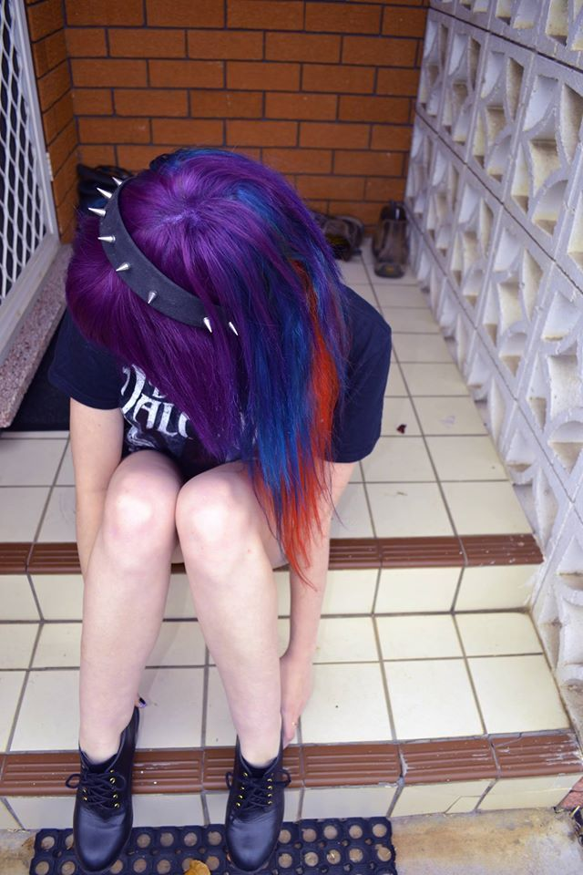 Manic Panic colours red, blue and purple hair
