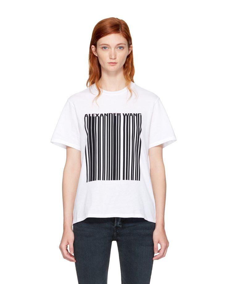 Alexander Wang – White Boxy Crewneck Barcode T-Shirt - http://cowboyzoom.com/fashion/alexander-wang-white-boxy-crewneck-barcode-t-shirt/