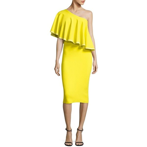 Diane von Furstenberg Ruffled One-Shoulder Dress ($468) ❤ liked on Polyvore featuring dresses, midi dress, mid calf dresses, yellow ruffle dress, one shoulder cocktail dress and flounce dress