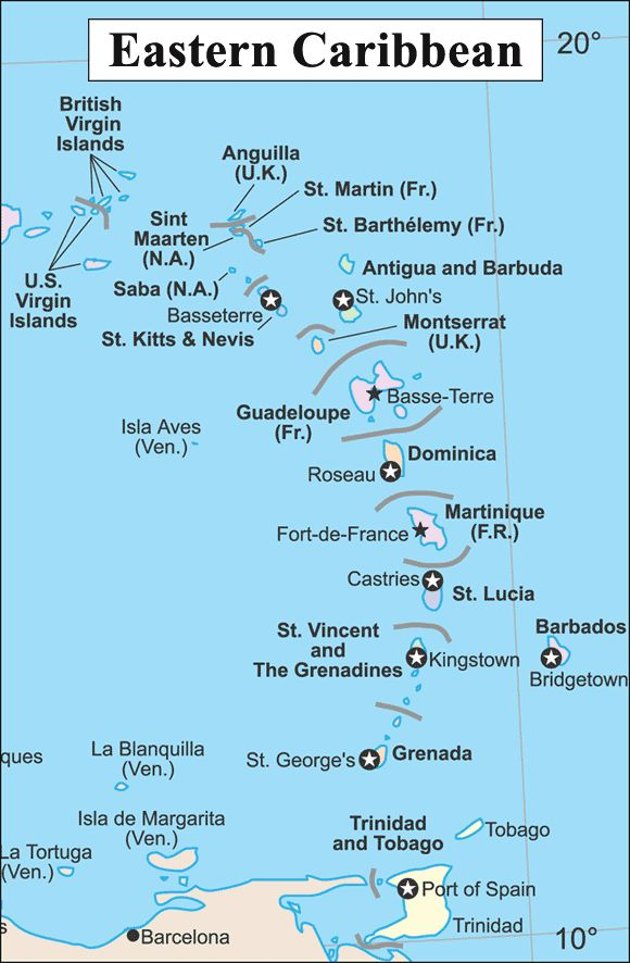 CaribSeek Eastern Caribbean Map Map Of The Eastern Caribbean - Caribbean island map