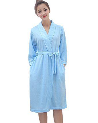 cbf37d62510828 Damen leichter Reisebademantel Bade Mantel,Waffel Bademantel Kimono  Morgenmantel für Frauen(Blau-S