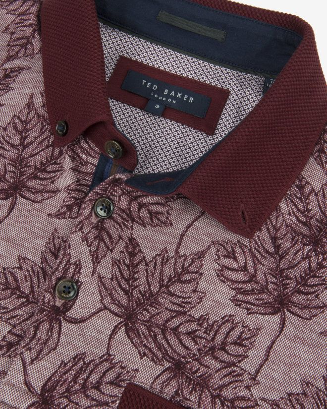 Leaf print polo shirt - Dark Red | Tops & T-shirts | Ted Baker