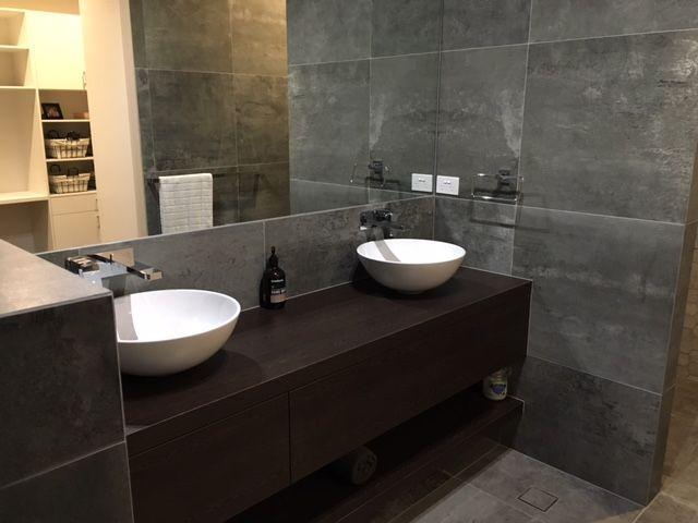 Custom design and manufactured by Bordeaux  #Grey #Mirror #Mirror #Bathroom