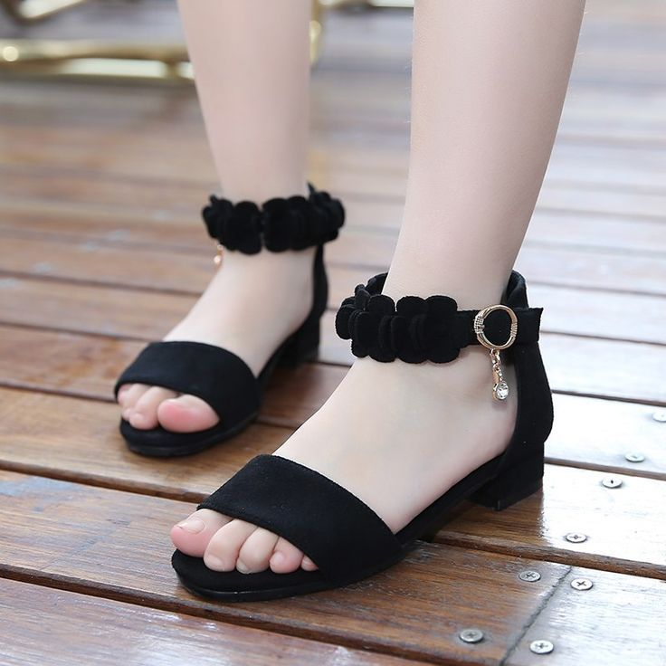 GIRLS KIDS CHILDRENS SANDALS SHOES PEEP TOE STRAPPY LOW HEEL CASUAL SUMMER SIZE