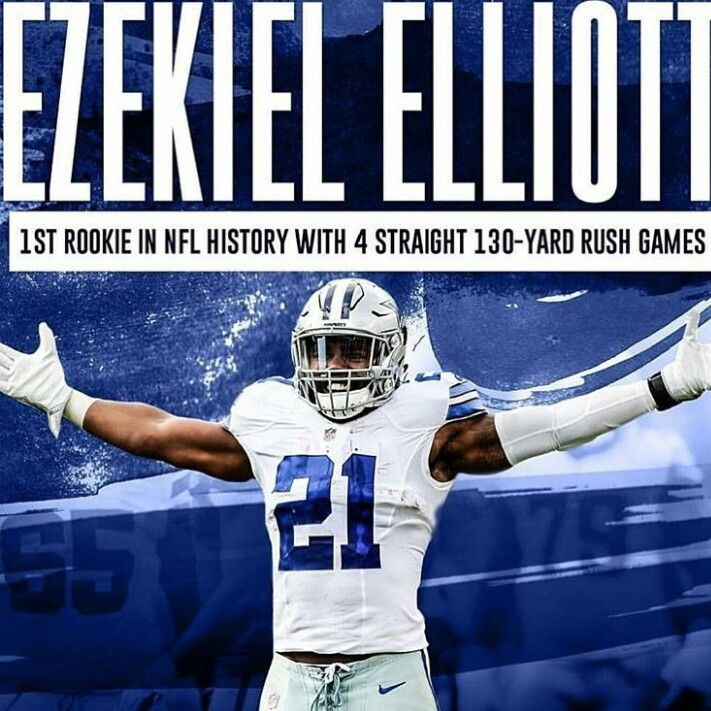 Ezekiel Elloitt, Dallas Cowboys. First rookie to have 4 consecutive 130 + yards rushing.