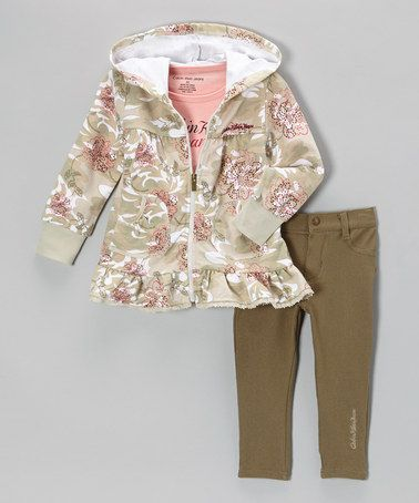 Take a look at this Pink Floral Zip-Up Hoodie Set - Toddler & Girls by Calvin Klein Jeans on #zulily today!