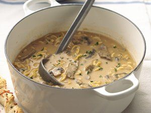 Creamy Beef, Mushroom and Noodle Soup: Comforters Flavored, Hearti Soups, Recipe, Beef Stroganoff, Sirloin Steaks, Noodles Soups, Noodle Soups, Creamy Beef, Mushrooms