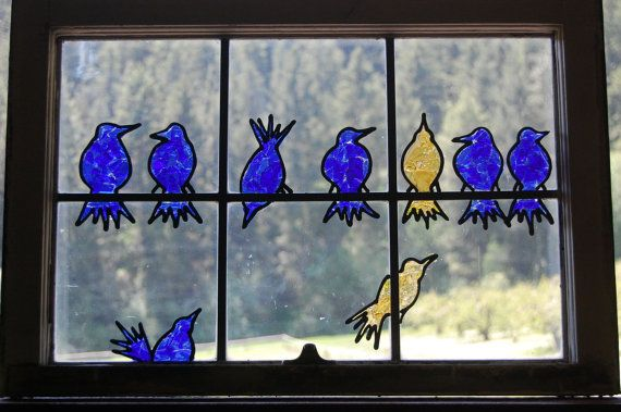 Just LOVE this!….Bird Buddies Recycled Glass Window Art