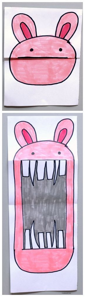 Folded bunny paper art project • art projects for kids • easy art projects • http://Craftwhack.com
