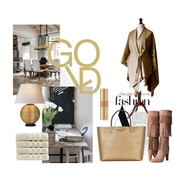 GOLD by mdrozd on Polyvore featuring moda, Stuart Weitzman, Givenchy, Yves Saint Laurent, HUGO and Christy