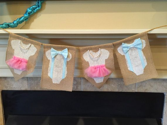 Hey, I found this really awesome Etsy listing at https://www.etsy.com/listing/240245995/gender-reveal-bow-tie-and-pearls-burlap