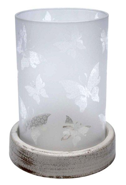 Frosted Glass Butterfly Candle Holder $10.00