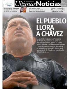 """""""Le peuple pleure Chavez"""", la une d'Ultimas Noticias ce matin"""