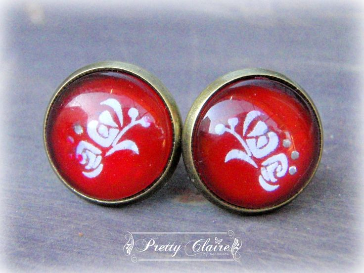 Cabochon handmade studs, red earrings, rose earrings, elegant earrings, unique gift, unique jewelry by PrettyClaire on Etsy