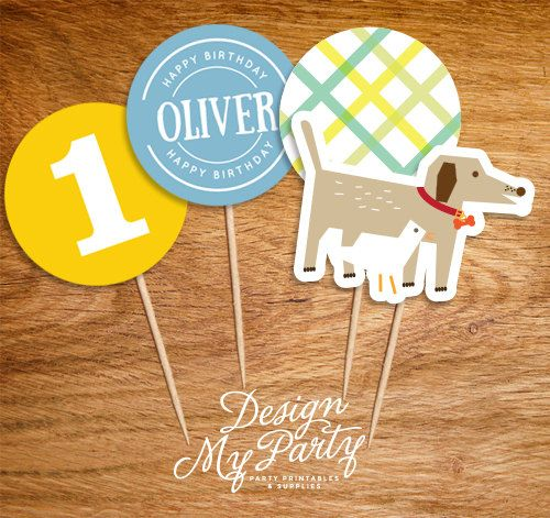 Dog & Duck Cupcake Toppers Personalised DIY by DesignMyPartyShop