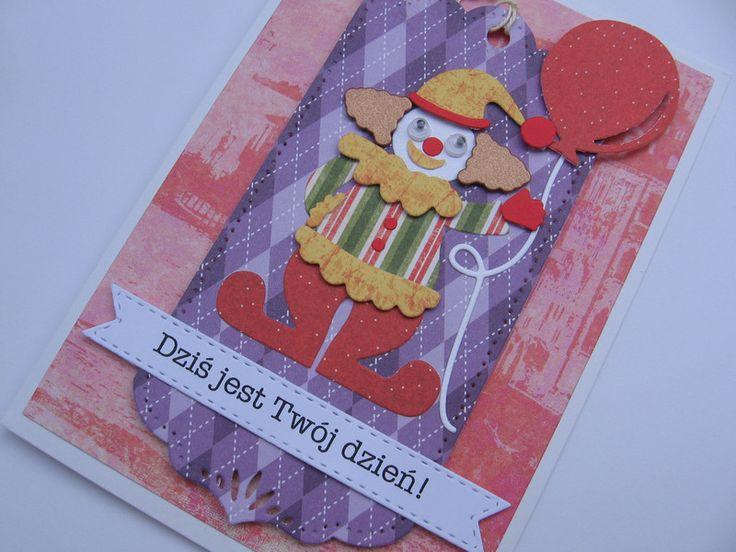 ♠ Kartka okolicznościowa z clownem ♠ - Projectgallias - Kartki urodzinowe