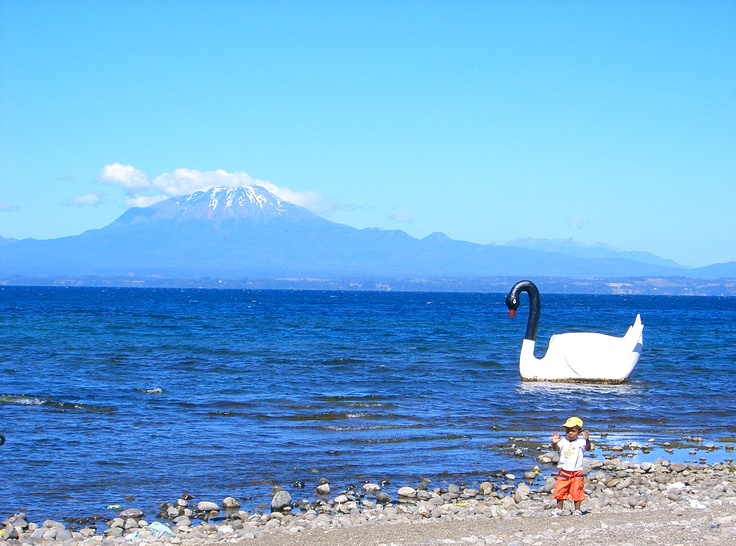 This is Lago Llanquihue (Llanquihue Lake) viewed from the town of Llanquihue, the water is quite cold
