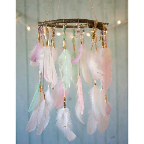 """Elegant Princess"""" Dreamcatcher Mobile by @dreamkeepersllc  Wow!This is so soft and subtle, with it's pastel color palette of white, cream, light green, light pink and lavender feathers. It features white, pink, lavender and cream string and some gold, silver and copper accents. It has a variety of shiny, sparkly beads in different shades to match. Dreamkeepersllc.etsy.com"""