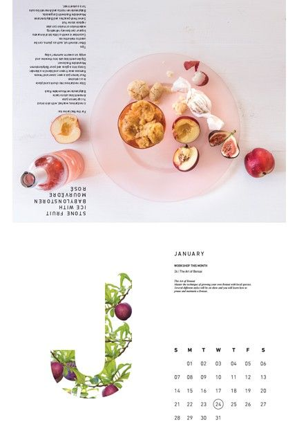2018 Calendar - Beautiful imagery of produce from our farm and quick-and-easy recipes by Maranda Engelbrecht adorn every page of our 2018 calendar. With its detailed and artful design, the calendar makes a thoughtful gift for epicurean friends and is sure to outlast its monthly function| Babylonstoren Franschhoek