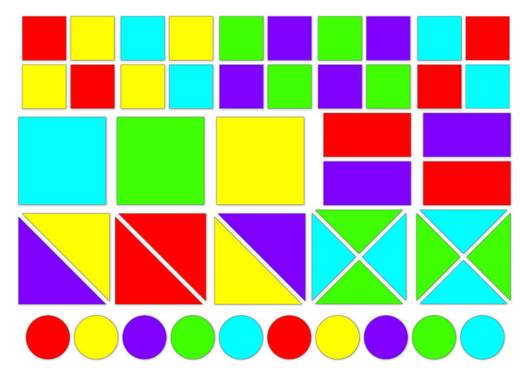 SHAPES  51 SQUARES, RECTANGLES, TRIANGLES, CIRCLES, OF ALL SIZES AND COLOURS. BUILD A HOUSE, CREATE A PATTERN! - www.magwall.co.za