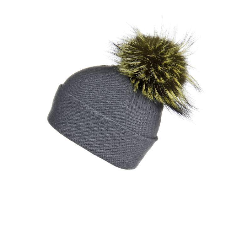 Reversible Slouchy Grey Cashmere Hat with Lemon Pom-Pom