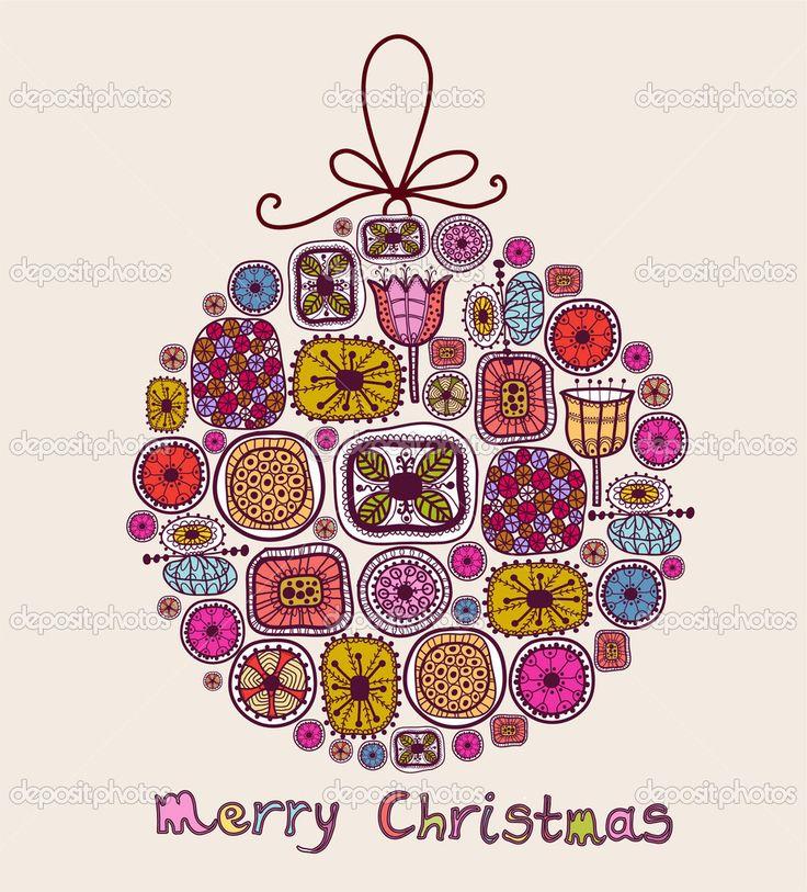 Рождественский бал в мультяшном стиле - Стоковая иллюстрация: 13185841
