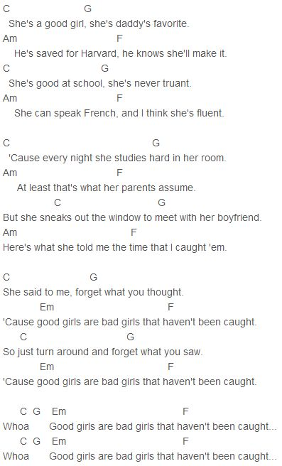 5 Seconds of Summer Good Girls Chords Capo 4
