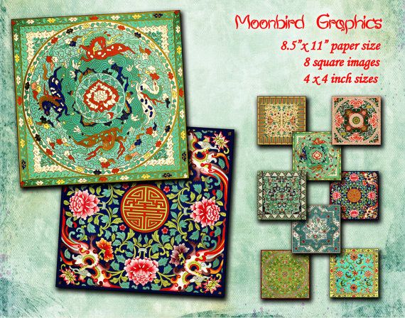 CHINESE ORNAMENT    Digital Collage Sheet by MoonbirdGraphics