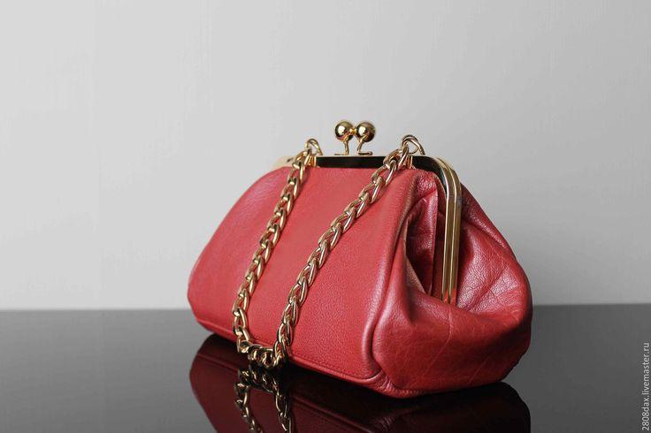 Купить Кожаная сумочка, сумка на фермуаре, кожаный саквояж, коралловый - коралловый, саквояж, женская сумка