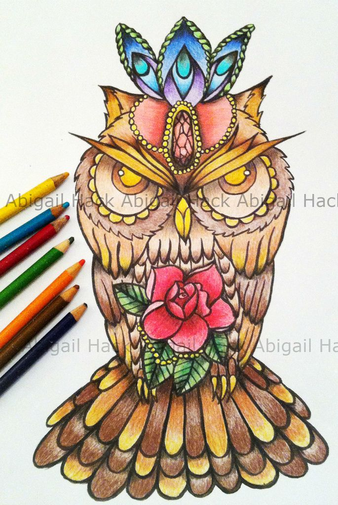 Final Owl Tattoo Design Colour