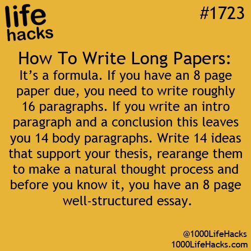 How to write a long paper!!
