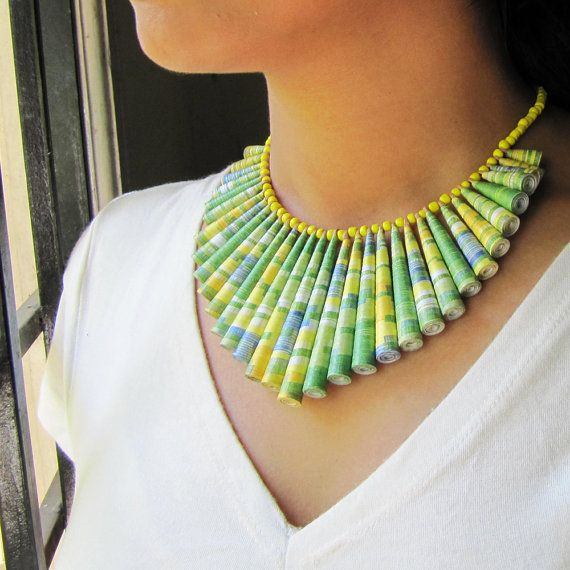 Paper jewelry Paper jewellery Lime Green necklace door PaperMelon, $68.00