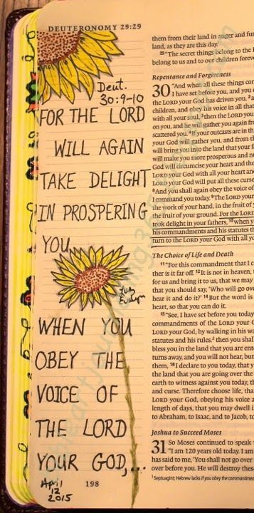 Easy Bible Art Journaling Journey: Deuteronomy 30:9-10 (April 12th)