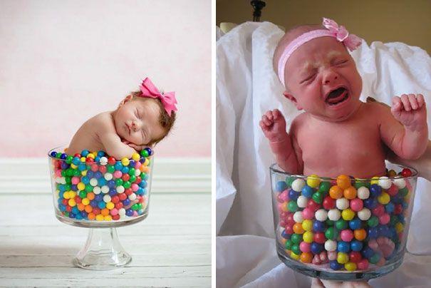10 hilarische babyfoto's: Pinterest versus de realiteit