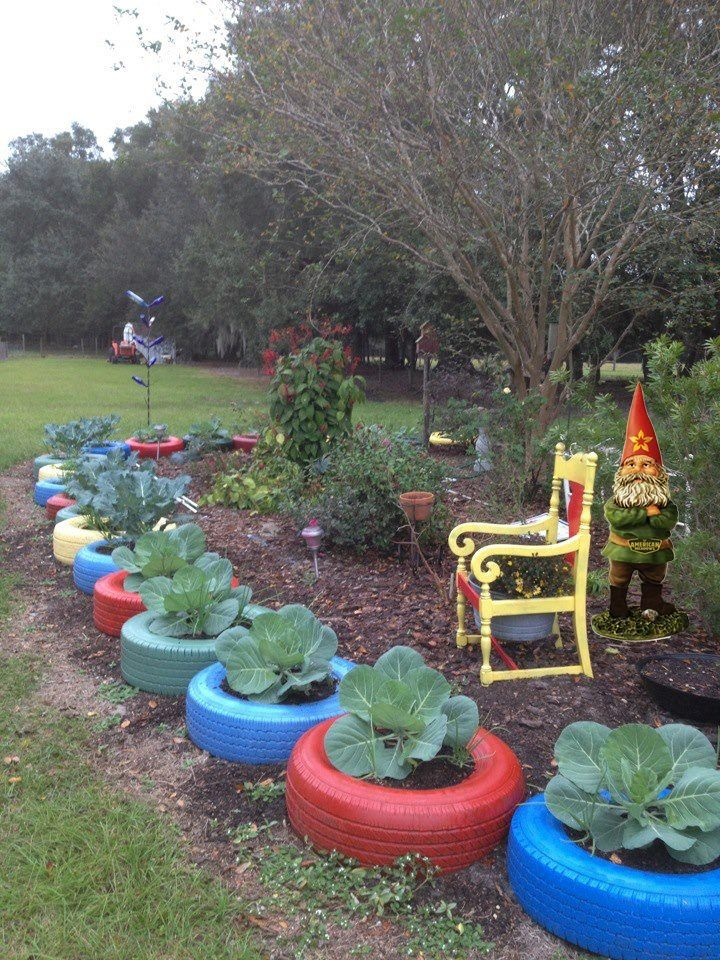 vegans living off the land recycled cartruck tire gardens - Garden Ideas Using Old Tires
