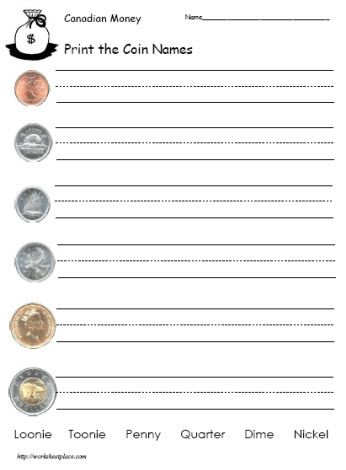 Canadian money worksheets free to print