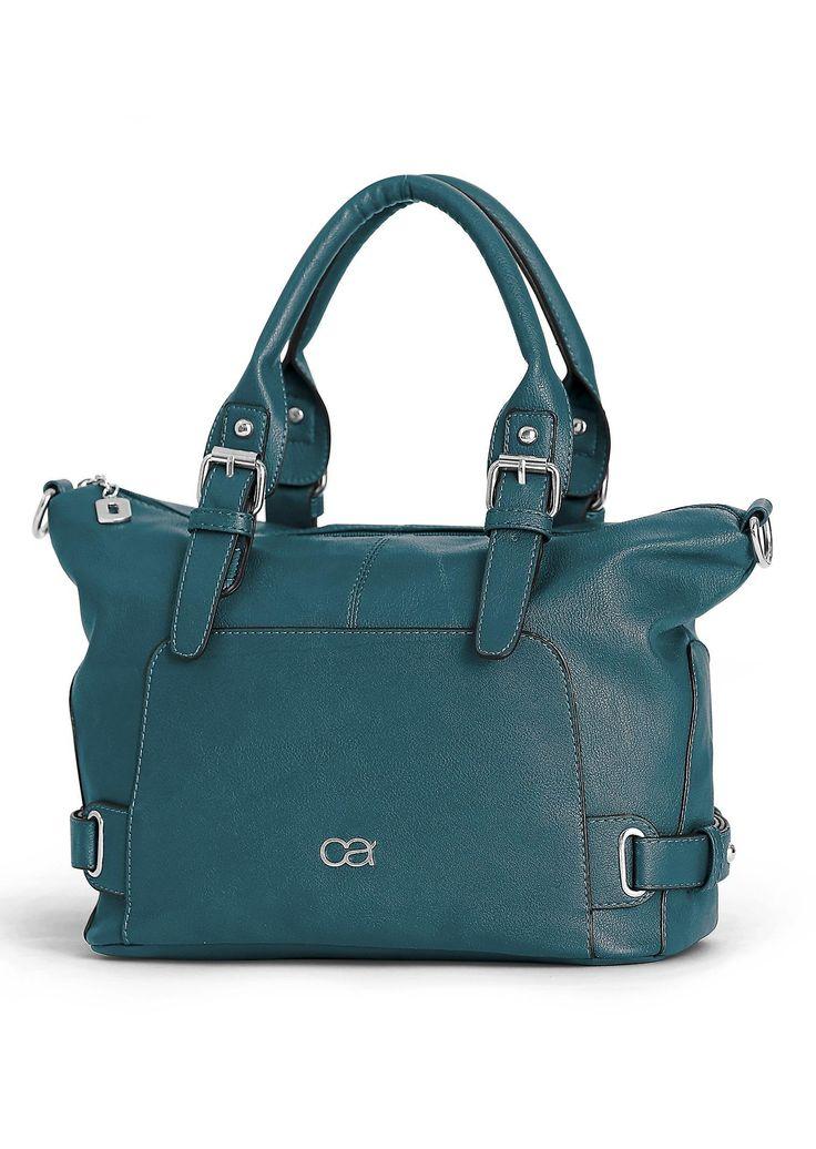 #Handtasche aus pflegeleichten Lederimitat in petrol ©Atelier Goldner Schnitt | www.ateliergs.at