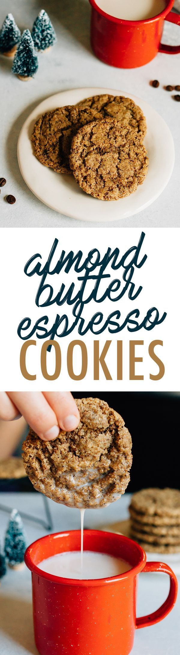 The BEST almond butter espresso cookies! Only six ingredients. Plus, they're flourless, vegan and gluten-free!
