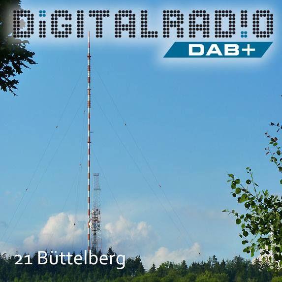 (21) Büttelberg/Mittelfranken * im Nordteil der Frankenhöhe gelegene Erhebung (530 m ü. NN) * seit 1952 Standort einer Sendeanlage des Bayerischen Rundfunks * ein 219 Meter hoher Stahlrohrmast sorgt für die Verbreitung von UKW, DAB+ und DVB-T * erster Sendestandort in Bayern, der im Anschluß an das DAB-Pilotprojekt 1999 von der BDR errichtet wurde *