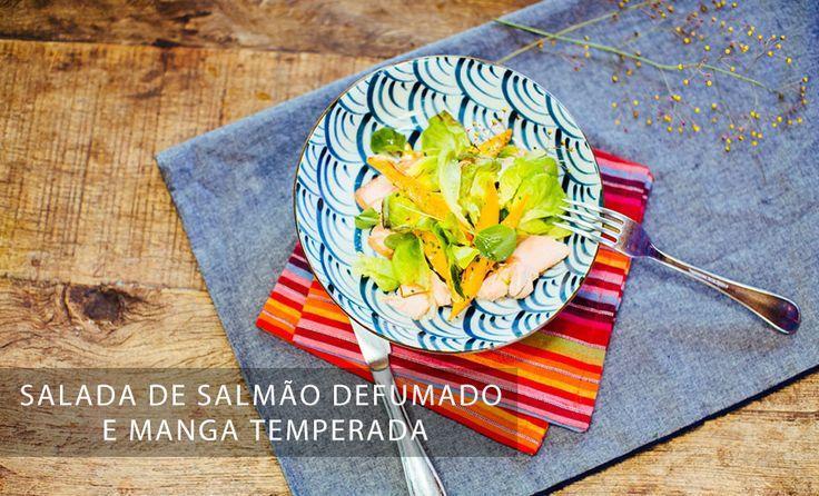os Achados | Gastronomia | Salada de salmão defumado e manga temperada