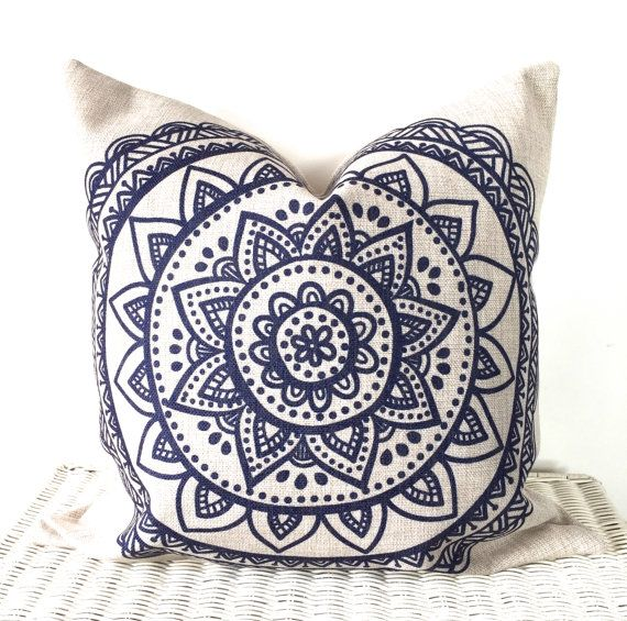 Bohemian cushion cover hippie pillow cover in navy blue and natural 18x18""