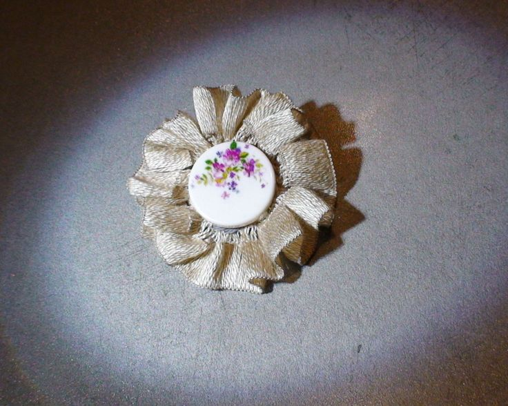 Handmade brooch, textile brooch with large bead by AnuCraft on Etsy