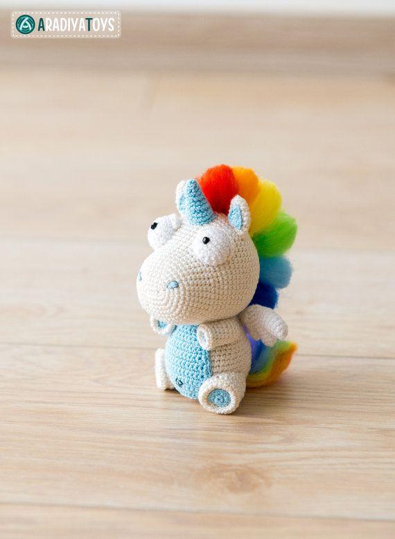 Crochet patrones de unicornio Corki de Diseño por Aradiya en Etsy