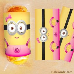 Free printable girl minion twinkies wrappers