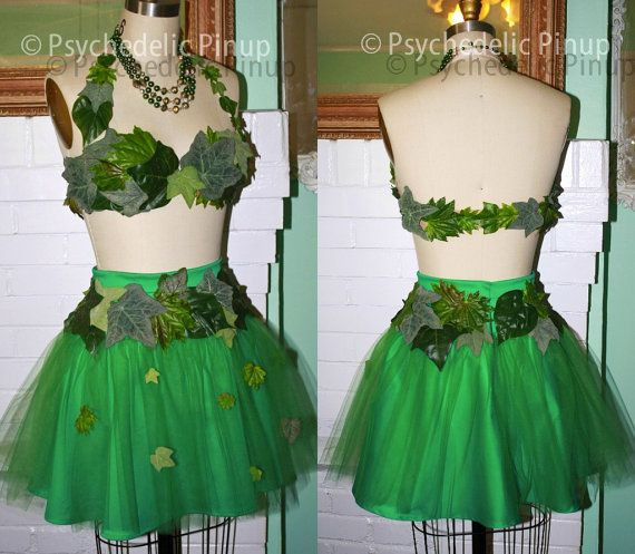 Sexy Pinup Poison Ivy or Adam and Eve Halloween Costume -34B Tutu Skirt- Sexy Hallween PsychedelicPinup
