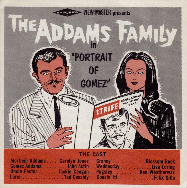 THE ADDAMS FAMILY based on the cartoons of Charles Addams 1965 View-master set booklet  Starring CAROLYN JONES as MORTICIA ADDAMS & JOHN ASTIN as GOMEZ ADDAMS (minkshmink)