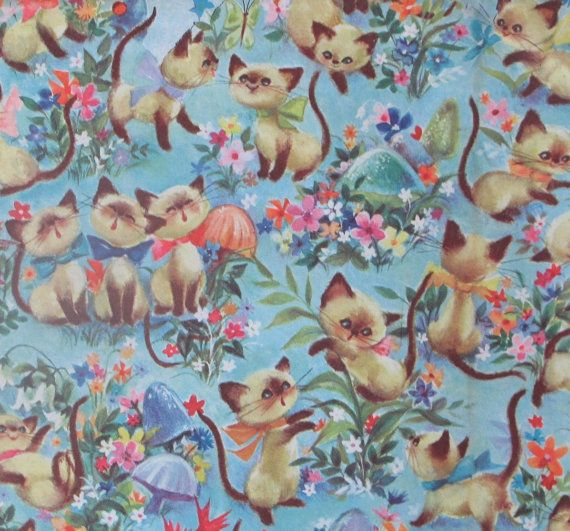 Vintage Occasional Wrapping Paper Gift Wrap Siamese Cats KITTENS and FLOWERS 1960s