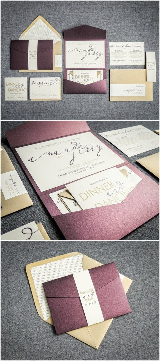 Modern Wedding Invitations, Metallic Wedding Invitation, Eggplant, Purple, & Gold, Modern Calligraphy - Pocketfold